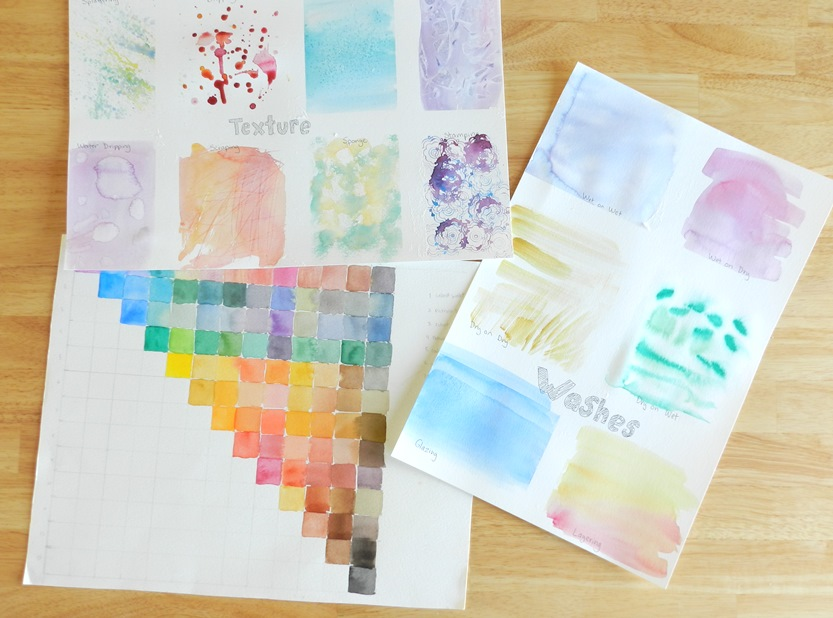 watercolor textures washes and color mixing