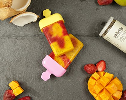 Mango strawberry healthy popsicles
