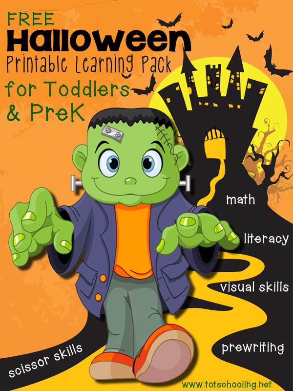 Free Halloween Printable Pack for Toddlers & Preschoolers featuring math, counting, literacy, prewriting, alphabet, letter sounds and more!