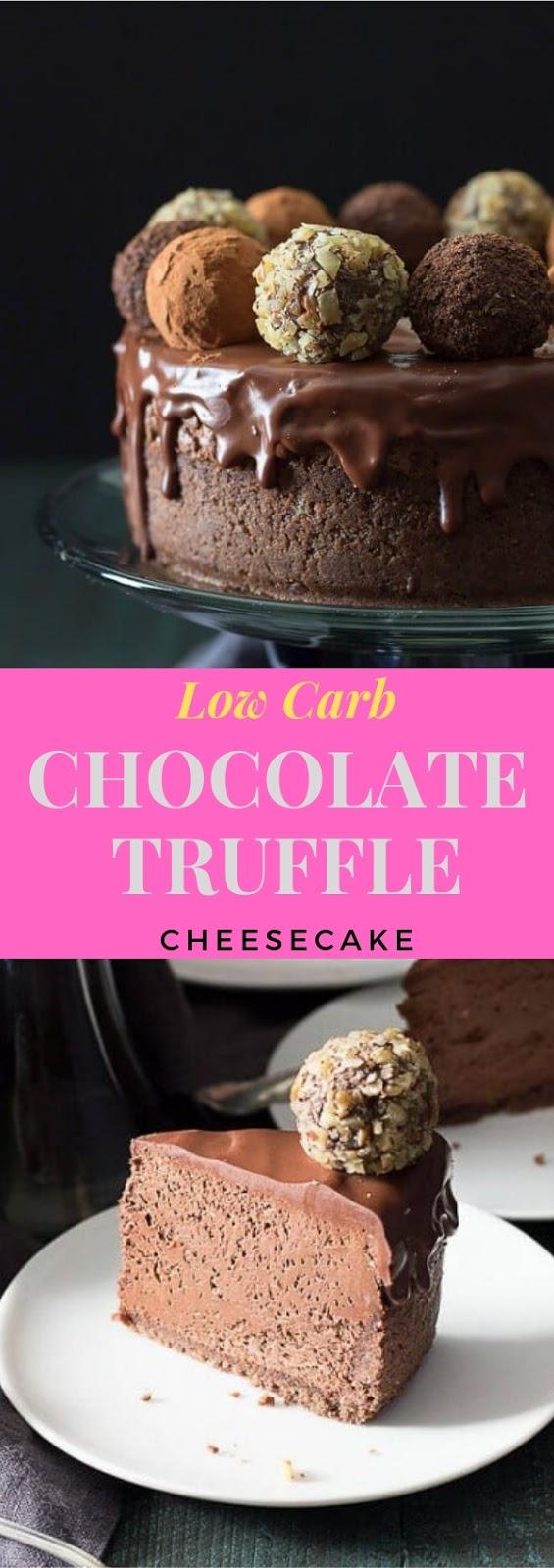 Low Carb Chocolate Truffle Cheesecake #dessert #lowcarb #chocolate #truffle #cheesecake