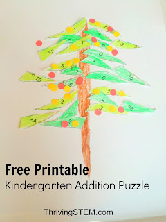 Adding Doubles Christmas Tree Math Puzzle for Kindergarten