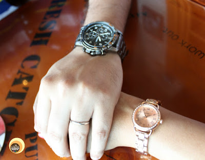 My 3rd Wedding Anniversary Special OOTD. Featuring Fossil Men's Chrono watch and Guess Rosegold woman watch