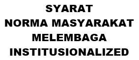 SYARAT NORMA MASYARAKAT MELEMBAGA INSTITUSIONALIZED