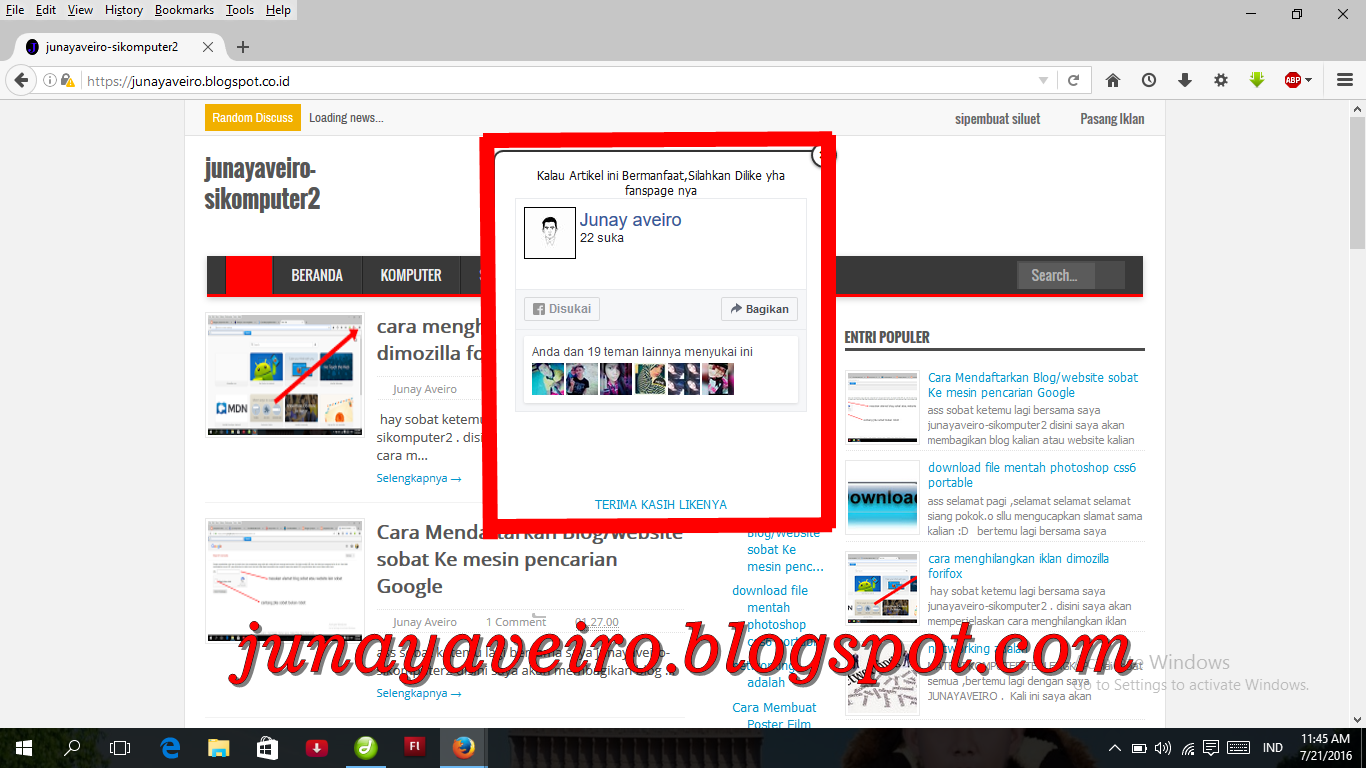 Cara Membuat Fanspage Facebook melayang blog - junayaveiro