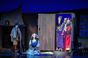 IN REVIEW: (from left to right) treble PHILLIP WEBB as Amahl, mezzo-soprano STEPHANIE FOLEY DAVIS as Mother, tenor JACOB RYAN WRIGHT as Kaspar, bass-baritone DONALD HARTMANN as Balthazar, and baritone ROBERT WELLS as Melchior in Greensboro Opera's December 2019 production of Gian Carlo Menotti's AMAHL AND THE NIGHT VISITORS [Photograph by VanderVeen Photographers, © by Greensboro Opera]
