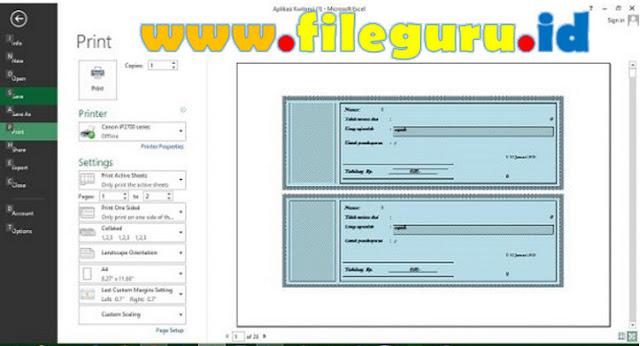 Aplikasi Kwitansi Excel Serba Otomatis 100 Lembar