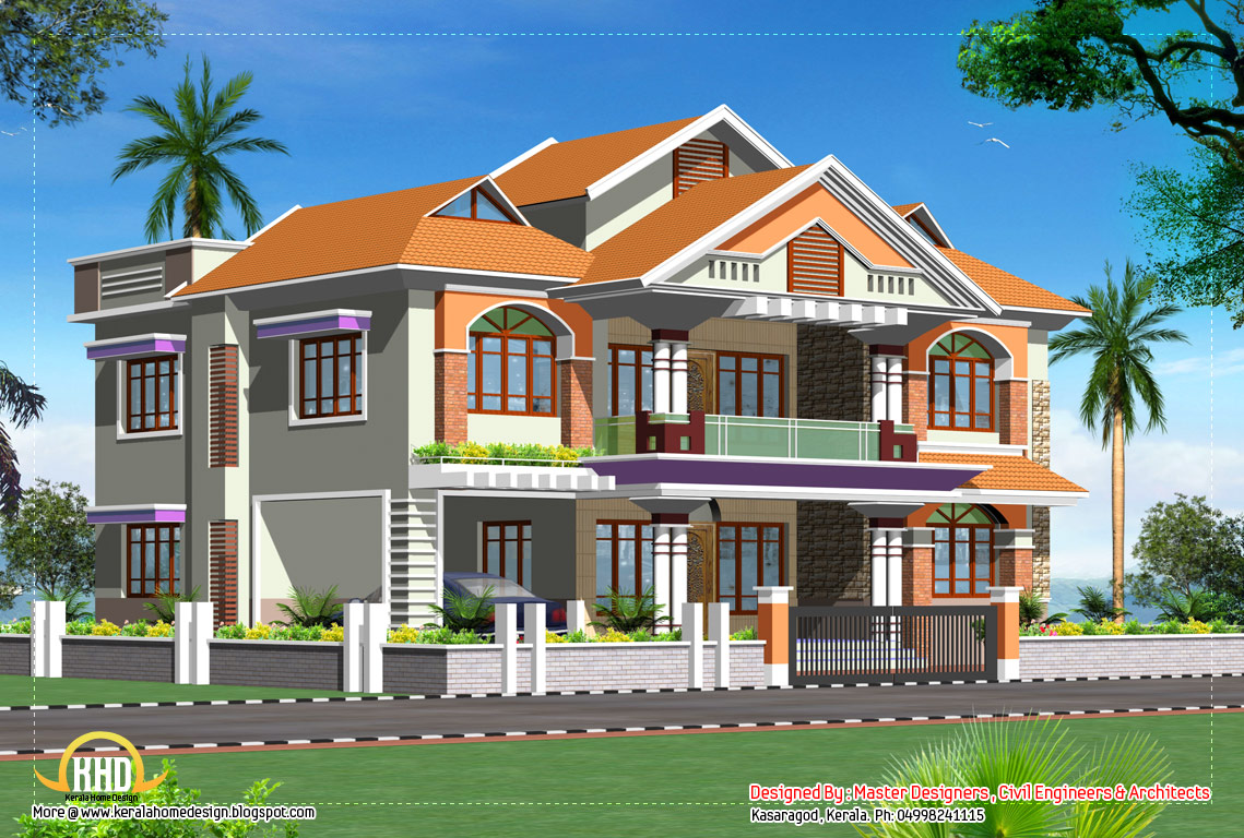 Double story luxury home design 3719 sq ft kerala for 3 story home plans