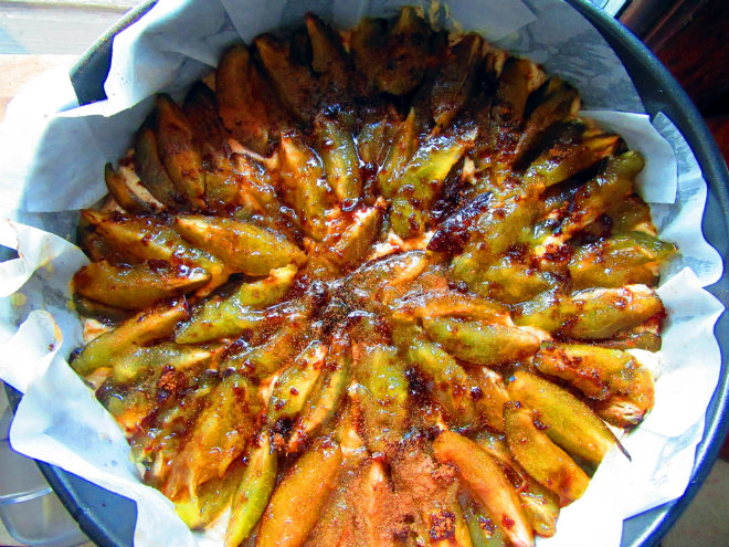 Olive oil plum cake by Laka kuharica: arrange the plums on top in concentric circles, pressing into the batter.