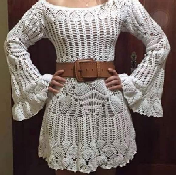 1f2595159 Vestido em Crochê com Sugestão de Gráficos - Katia Ribeiro Crochê ...