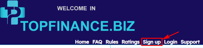 Регистрация в Topfinance