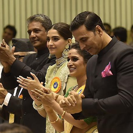 Akshay Kumar, Sonam Kapoor and Surabhi Lakshmi at National Film Awards