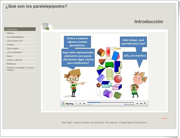 """""""¿Qué son los paralelepípedos?"""" (Aplicación interactiva de Geometría de Secundaria)"""