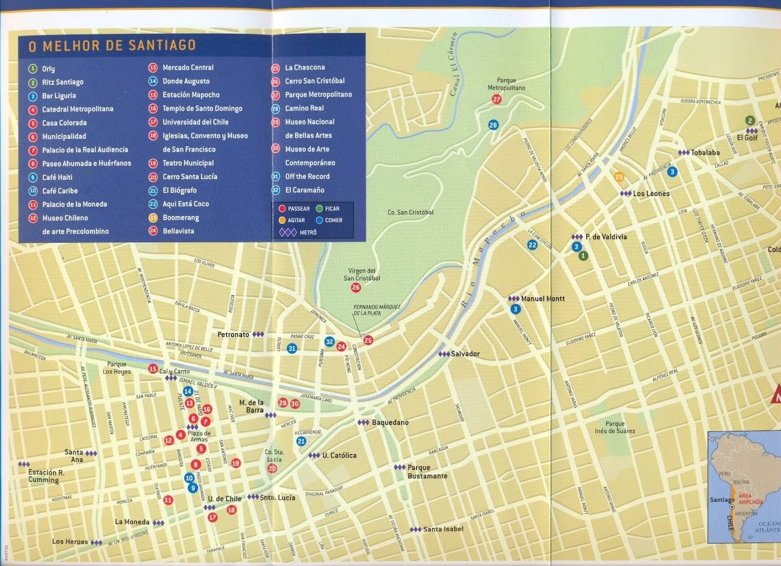 Santiago De Chile Mapa Turistico.Mapas De Santiago Chile Mapasblog