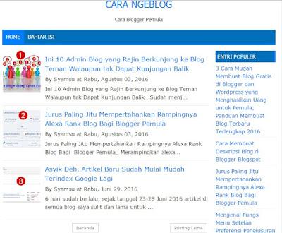 Contoh Tampilan Jumlah Postingan di Home Page Blogspot Setelah Dilakukan Pengaturan