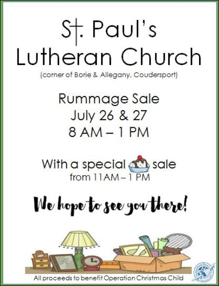 7-26/27 St. Paul's Lutheran Church Rummage Sale