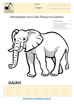 Lembar Kerja Paud  Menebalkan Huruf G dan Mewarnai Gambar Gajah