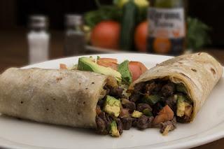 Burrito with diced pork, avocado, tortilla
