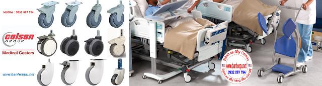 Bánh xe đôi giường bệnh nhân Colson phi 125 trục ren | CPT-5854-85