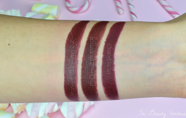 nouveau cosmetics swatch, rossetti nouveau, nouveau cosmetics swatch, nouveau cosmetics review, grape, violet, citrus, tango, summer, orchid, nude, powder, liliac,summer, ruby, pomgranade, brick