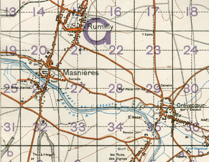 Section of map sheet 57B: Cambrai and Le Cateau, December 1917 (D/DLI 7/179/5)