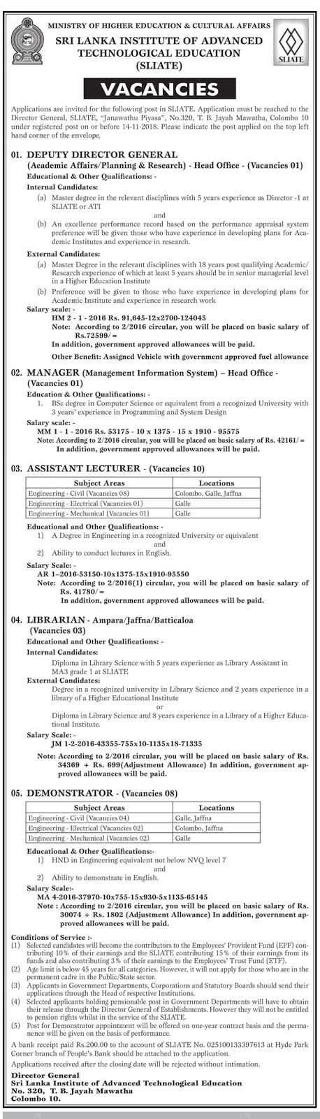 Vacancies at Sri Lanka Institute of Advanced Technological Education