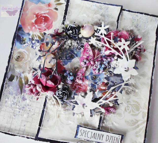 kartka z kwiatami i szyszkami