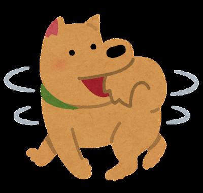 自分の尻尾を追いかける犬のイラスト