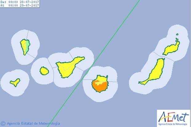 Aviso naranja por  fuerte calor medianías del sur de Gran Canaria, viernes 28 de julio