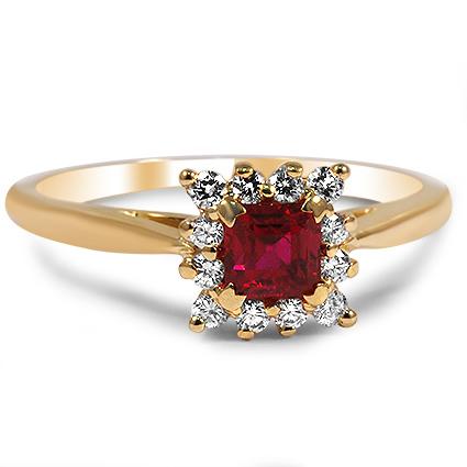 Nhẫn vàng đá Ruby và Kim cương