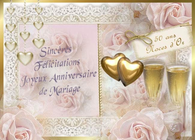 carte 50 ans de mariage invitation mariage carte. Black Bedroom Furniture Sets. Home Design Ideas