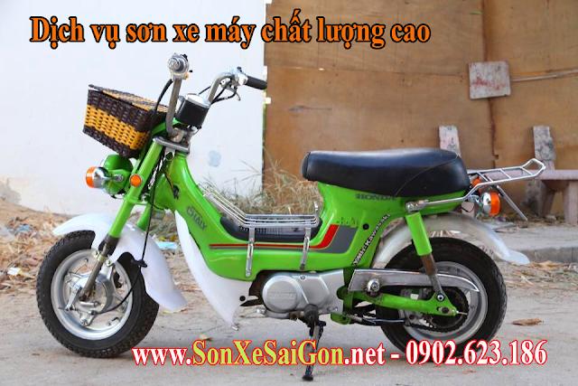 Sơn xe máy Honda Chaly màu xanh lá cực đẹp