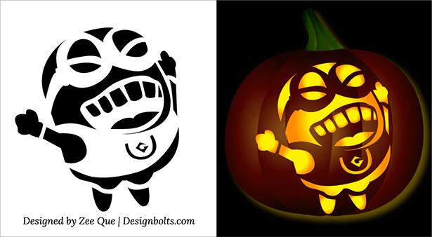 Minion pumpkin jack o lantern stencils carving pattern