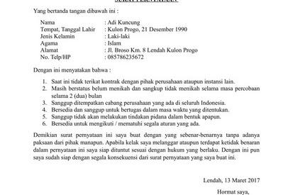 Contoh Surat: Surat Pernyataan