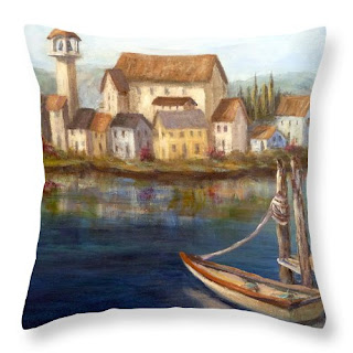 Throw pillow with Tuscan village Home Decor