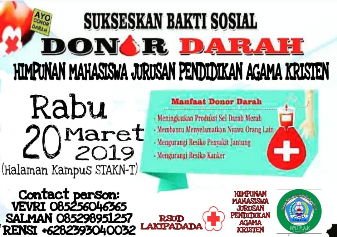Besok, Himpunan Mahasiswa Jurusan PAK STAKN Toraja Buat Aksi Donor Darah, Yuk Ikutan..