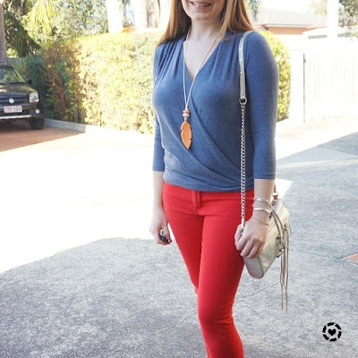 awayfromblue instagram  blue wrap top red skinny jeans
