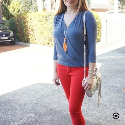 awayfromblue instagram  blue wrap top red skinny jeans