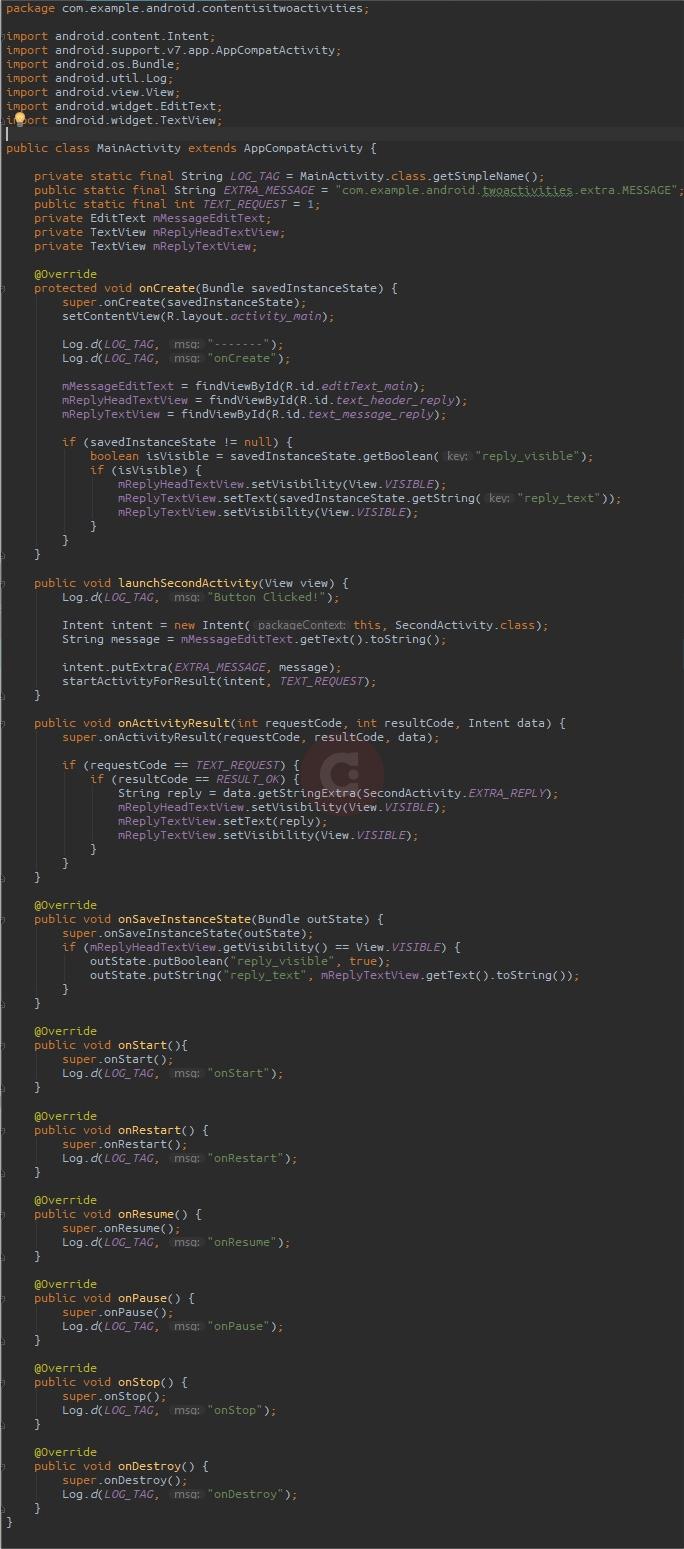 Full Script MainActivity.java Two Activities