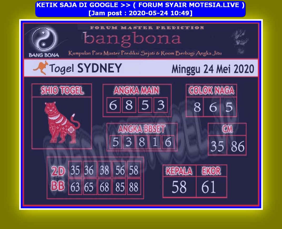Kode syair Sydney Minggu 24 Mei 2020 88