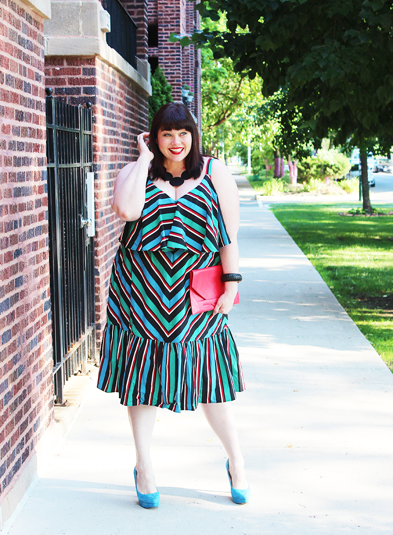 Plus Size Blogger Amber from Style Plus Curves in the Studio Striped Dress from Eloquii, plus size dress, plus size fashion, stripes, summer style