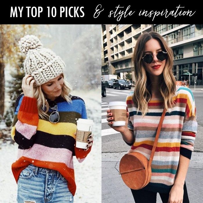knit beanie, striped sweater