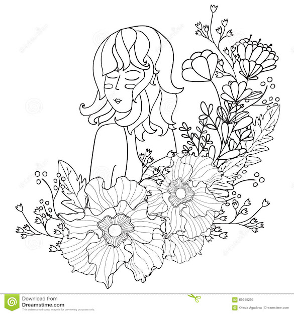 Vector Illustration Black And White Woman With Flowers Coloring Pages For  Adults