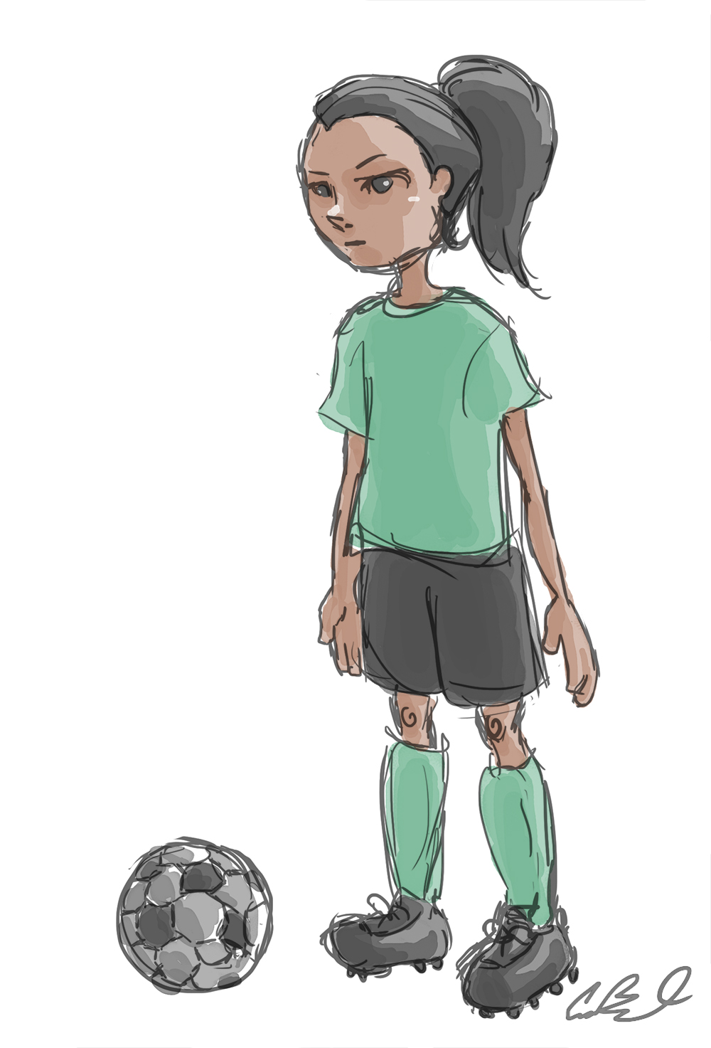 It is a graphic of Smart Girl Playing Soccer Drawing