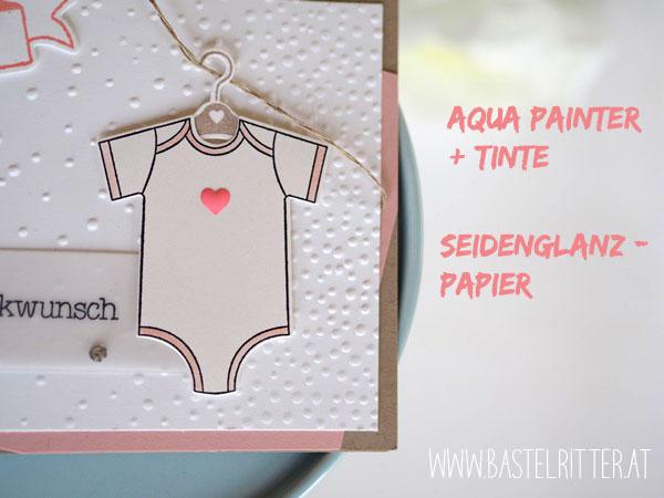 Zum Nachwuchs Mädchen Stampin up Bastelritter Babykarte