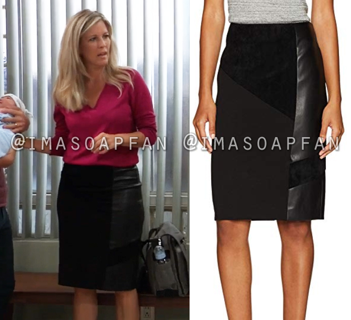 fabb32694ef Carly Corinthos s Black Faux Leather Patchwork Pencil Skirt - General  Hospital