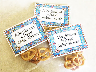 """A Day Hemmed in Prayer Seldom Unravels"".  This printable bag topper is perfect for your church lesson handout on prayer.  Simply fill with pretzels and read the enclosed story for a great object lesson and take away."