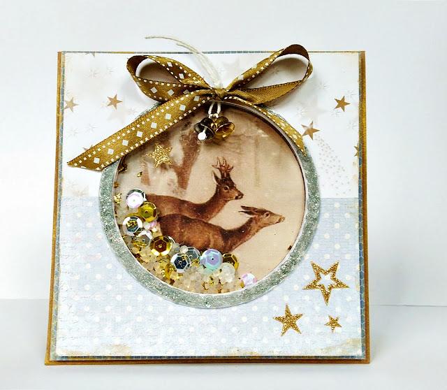 kartka świąteczna złoto srebrna