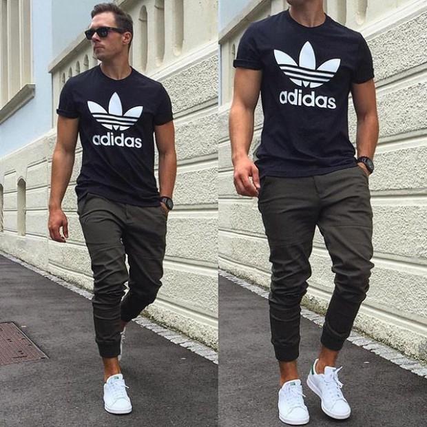 Tênis All White com Camiseta Preta Adidas