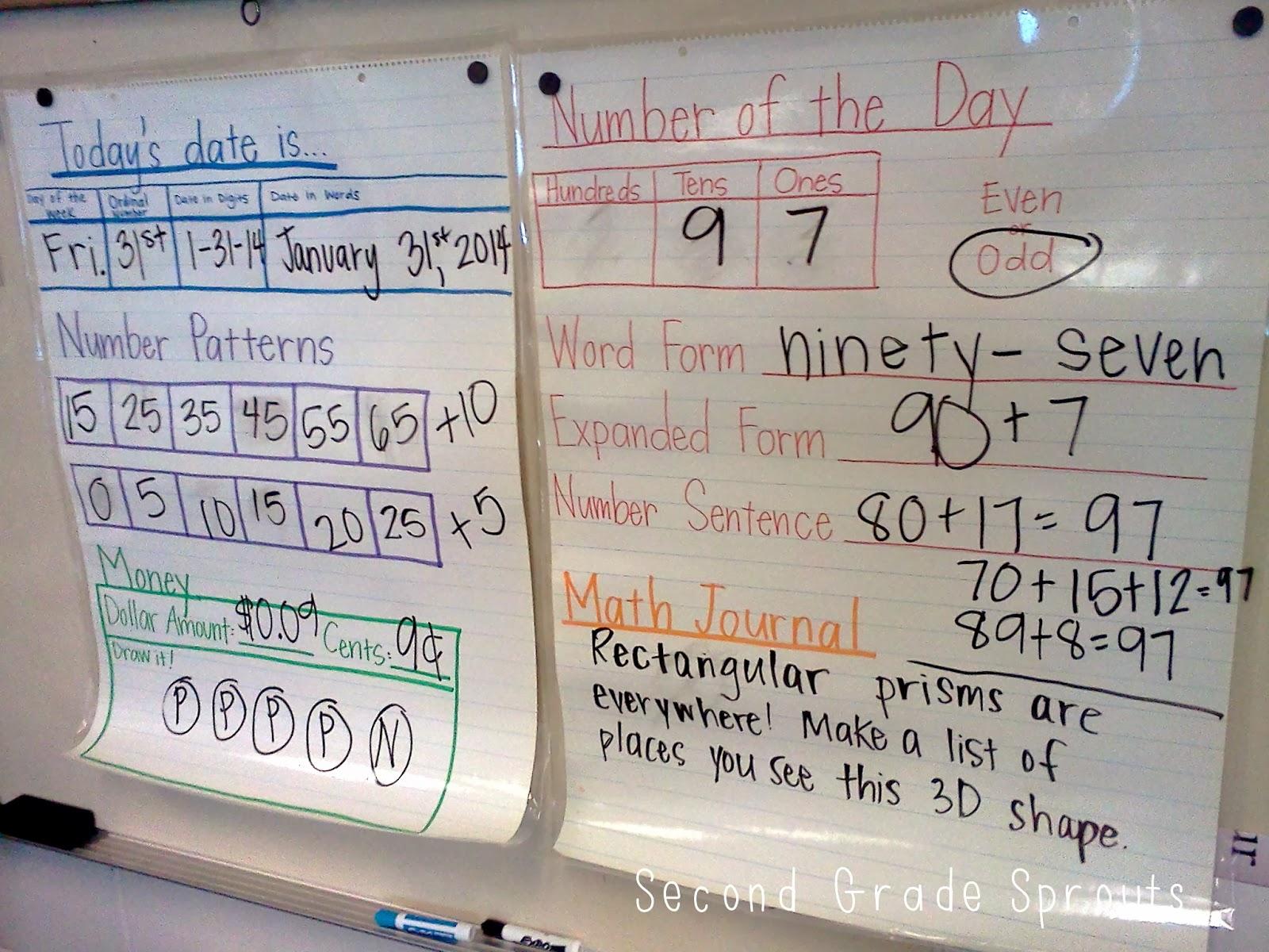 Second Grade Sprouts Monthly Math Calendar Journals