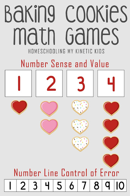 Cookie Baking Number Sense Games // Homeschooling My Kinetic Kids // number sense, addition, subtraction, adding 3 numbers, 10-frame math, 20-frame math, multiplication, division, elementary math, kindergarten math, pretend play disguised as learning